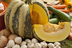 Tonda Padana pumpkin and ingredients for soup Royalty Free Stock Images