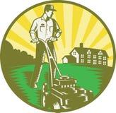 Tondeuse à gazon de fauchage de jardinier rétro Photographie stock libre de droits