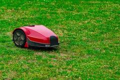 Tondeuse à gazon de robot sur le pré d'été dans le jardin avec l'espace de copie Photographie stock libre de droits