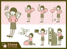 2tone类型平直的轰隆头发女衬衫woman_set 11 图库摄影