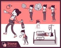 2tone类型母亲和baby_set 10 向量例证