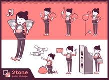 2tone类型母亲和baby_set 11 库存例证