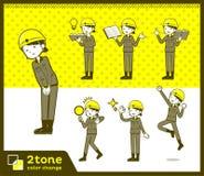 2tone类型盔甲建筑工人woman_set 05 向量例证