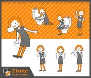 2tone类型鲍伯头发礼服woman_set 09 免版税库存照片