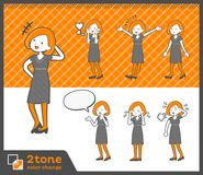 2tone类型鲍伯头发礼服woman_set 03 库存图片