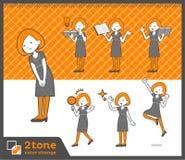 2tone类型鲍伯头发礼服woman_set 05 免版税库存图片