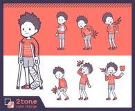 2tone Art rotes boy_set 08 kurzes Haar der Kleidungs stock abbildung