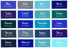 Tone Color Shade Background bleue avec le code et le nom Photographie stock libre de droits