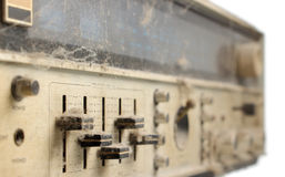 Tone controls on panel of old stereo receiver. With dust and cobweb Royalty Free Stock Images