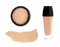 Tone cream and cosmetic powder Royalty Free Stock Photos