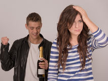 Tone party teen one is worrying Royalty Free Stock Photography