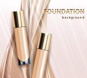 Tone skin cream bottle. Glamorous foundation ads, glass bottle with foundation.Elegant ads for design, 3d Vector. Illustration Royalty Free Stock Photo