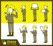 2tone tipo men_set 06 del muratore del casco Immagine Stock