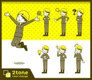 2tone tipo woman_set 01 del muratore del casco illustrazione di stock