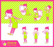2tone type mom_set 09 de tablier de cheveux de petit pain de ballet illustration libre de droits