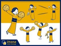 2tone type yellow ocher kimono women_set 07 Stock Images