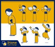 2tone type yellow ocher kimono women_set 05 Stock Photos