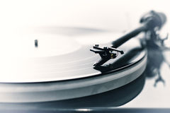 Tonearm detail. Detail of a modern vinyl record player (turntable) with a vintage image look Royalty Free Stock Photos