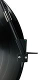 Tonearm vinyl record LP headshell, isolated macro. Tonearm on vinyl LP and black green dot pickup headshell, isolated hi-fi record player tone arm macro closeup stock images
