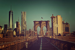 Toned artistic view of Brooklyn Bridge walkway Stock Photo