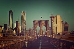 Free Toned Artistic View Of Brooklyn Bridge Walkway Stock Photo - 64315690