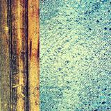 Toned azure drips and wooden timber as abstract background. Royalty Free Stock Images