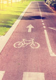 Toned Bicycle road in an urban area at summer Stock Images