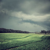 Toned Dark Landscape with Field and Moody Sky Stock Photo