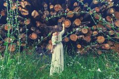 Toned girl stands in front of sawed down trees looking at them with regret. Take care and save nature. Background of cut down royalty free stock photos
