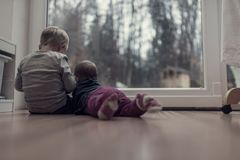 Toned image of brother and sister sitting on the wooden floor Stock Image