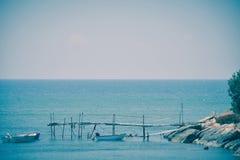 Sea, pontoon and boats Stock Photo