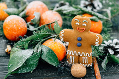 Toned image Christmas composition with snowy Tangerines gingerbread man, Pine cones, Walnuts on Wooden Background, holiday. Decoration. Dark light film look royalty free stock photos