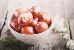 Toned Image. Easter Eggs Decorated with Natural Fresh Leaves Royalty Free Stock Photo