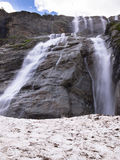 Toned image panorama of a large stepped waterfall with snow Royalty Free Stock Photos