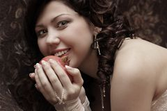 Toned laughing beautiful bride Stock Image