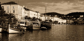 Toned Losinj port. View of the harbor of the largest place on the island Losinj, known as Mali Losinj Stock Photography