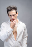Toned Male In Unbuttoned Dress Shirt Stock Photos