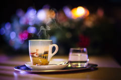 Toned photo cup of coffee with water, background for coffee shop Stock Photos