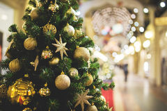 Toned photo of decorated fir Stock Images