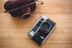 Toned photo of retro manual camera from top view point Stock Image