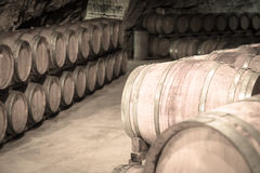 Toned photo  of  winery cellar Royalty Free Stock Photo