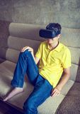 Young Man in VR Glasses Stock Photos