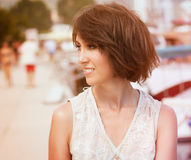 Toned Photo of Young Woman with Bob Hairstyle Stock Images