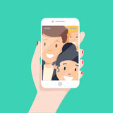 Toned. Picture of best friends making selfie on mobile or smart phone while spending free time. Royalty Free Stock Images