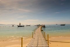 Toned picture - view of the pontone with boats in Thailand. On the island of Hong stock images