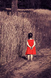 Toned portrait of offended little girl in red dress Stock Image