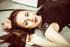 Fashion portrait young beautiful woman Royalty Free Stock Photo
