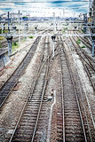 Toned railroad tracks. At a train station Stock Photo