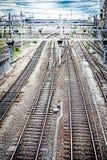 Toned railroad tracks Stock Photo