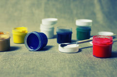 Toned set of paint cans Stock Image